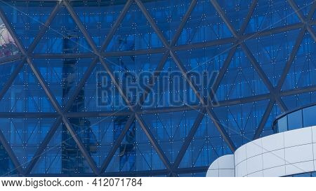 Abstract Modern Building Background For Design. Office Building Window Close-up.