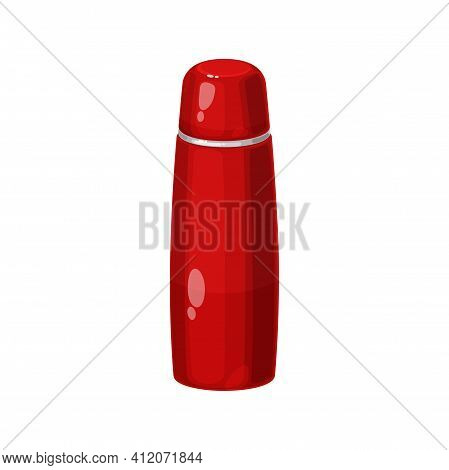 Vacuum Thermo Tumbler Flask Isolated Red Bottle. Vector Metal Thermos, Dewar Flask Insulating Storag