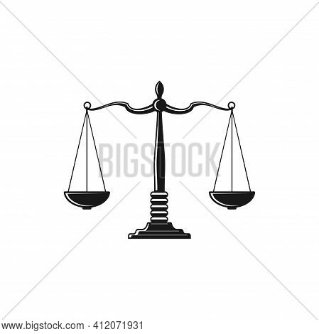 Mass Balance Scales Isolated Symbol Of Law And Justice Monochrome Icon. Vector Antique Measuring Dev