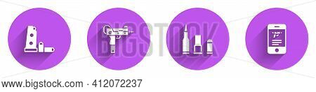 Set Gun Magazine And Bullets, Uzi Submachine Gun, Bullet And Shop Weapon Mobile App Icon With Long S