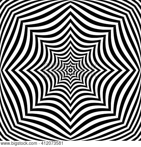 Abstract Op Art Symmetrical Lines Pattern. Vector Illustration.