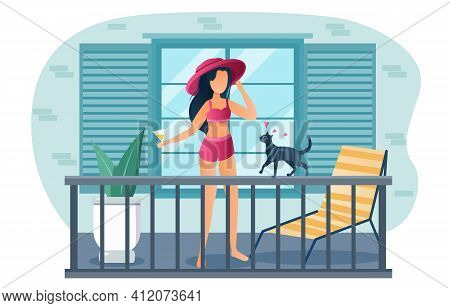 Young Female Character Is Sunbathing On Balcony Of Residential Building. Girl In Swimsuit, Hat And G