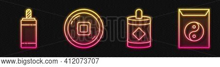 Set Line Firework, Firework, Chinese Yuan Currency And Yin Yang And Envelope. Glowing Neon Icon. Vec