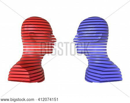 3d Abstract Illustration. Two People Opposite Each Other Isolated On White Background. Minimal Conce