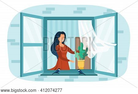 Smiling Female Neighbor Girl Dreaming At Open Window. Cheerful Woman Opened Window. Little Birds Are