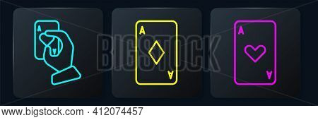 Set Line Hand Holding Playing Cards, Playing Card With Heart And Playing Card With Diamonds. Black S