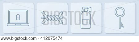 Set Line Laptop And Lock, Fire Extinguisher, Barbed Wire And Old Key. White Square Button. Vector