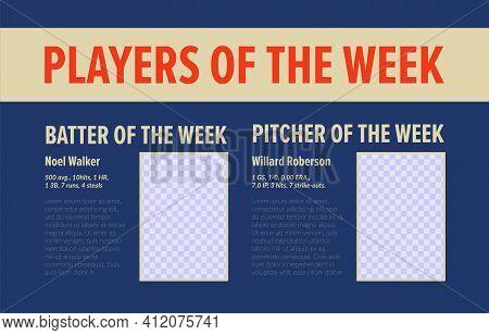 Best Baseball Player, Week Rating Design, Vector Illustration. Sport Team Player Frame At Graphic De
