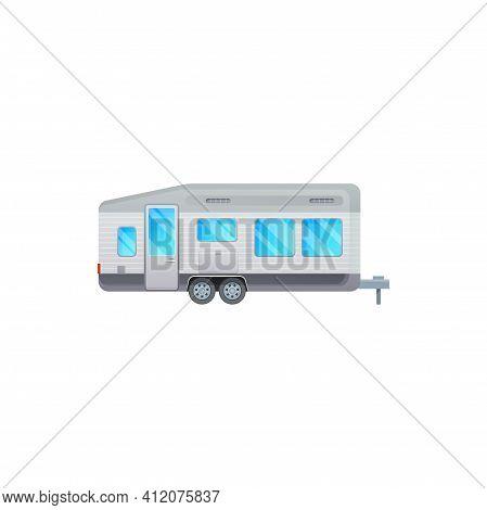 Travel Trailer Or Camper Van And Rv Caravan Vehicle, Vector Icon. Camper Trailer, Recreational Van A