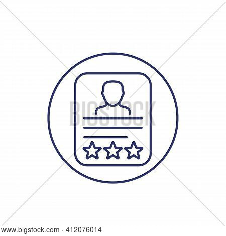 Employee Review Line Icon On White, Vector