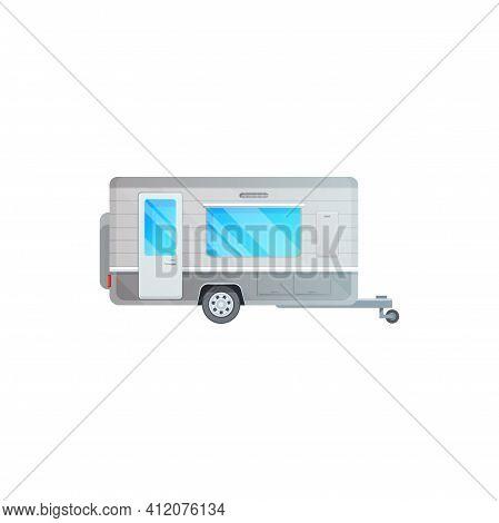 Camper Trailer, Caravan Van Or Camping Travel Car, Vector Rv Truck Or Motorhome Icon. Camping Travel