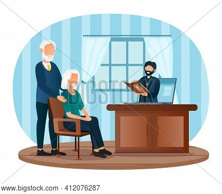 Male Priest Conducts Church Services To Elderly Couple Online On Laptop. Concept Of Church And Litur