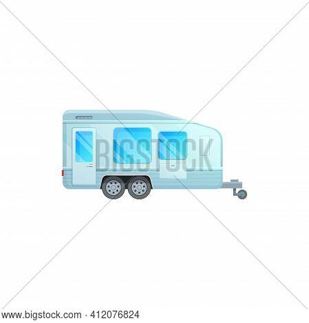 Trailer Camper, Travel Caravan Van Or Camping Rv Vehicle, Family Road Journey Motorhome Vector Icon.