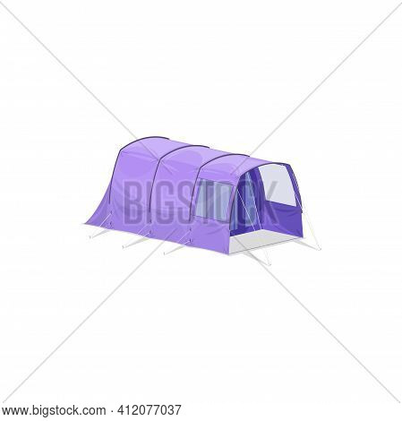 Camping Tent With One Room And Hall Isolated Realistic Icon. Vector Purple Cartoon Tent, Hiking Equi