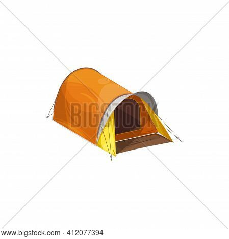 Waterproof Dome Canopy Camping Tent Isolated Cartoon Hiking Equipment Realistic Icon. Vector One Hal
