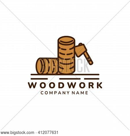 Carpenter And Woodwork Vintage Color Logo Icon Vector Illustration Template Design. Ax, Wood, Floore