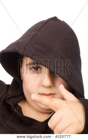 Boy In Hood  Close Up