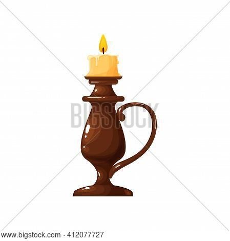 Burning Candle In Holder With Handle Isolated Realistic Icon. Vector Mystic, Romantic Wax Stick Cand