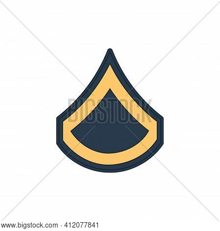 Pfs Private Fist Class Enlisted Army Rank Stripe Isolated Icon. Vector Military Emblem, Sign On Poli