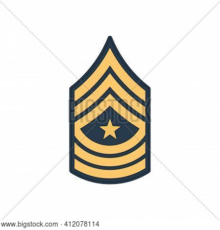 Sgm Sergeant Major Insignia Of Us Army Isolated Icon. Vector Senior Non-commissioned Rank, Appointme