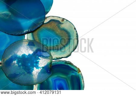 Agate Blue Set. Slices Of Natural Stone Isolated On White Background. Agate Pattern In Blue Tones.te