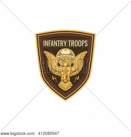 Special Forces Infantry Troops Military Squad With Eagle Isolated Chevron Emblem. Vector Us Army Mas