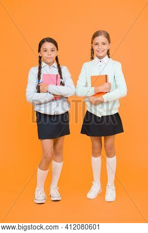 Knowledge Day. School Day Fun Cheerful Moments. Kids Cute Students. Schoolgirls Best Friends Excelle