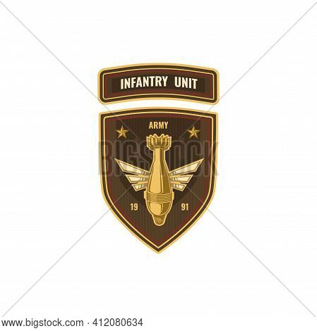 Special Forces Squad With Bomb, Air Forces Shield Isolated Military Chevron Icon. Vector Us Army Mas
