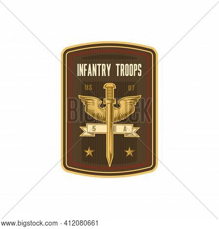 Infantry Troops Military Chevron, Squad With Sword And Eagle Wings Isolated. Vector Special Forces,