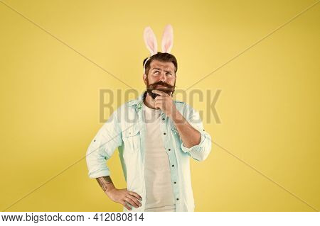 Let Me Think. Man Long Rabbit Ears. Bearded Man Easter Rabbit Costume. Easter Bunny Or Hare. Hipster