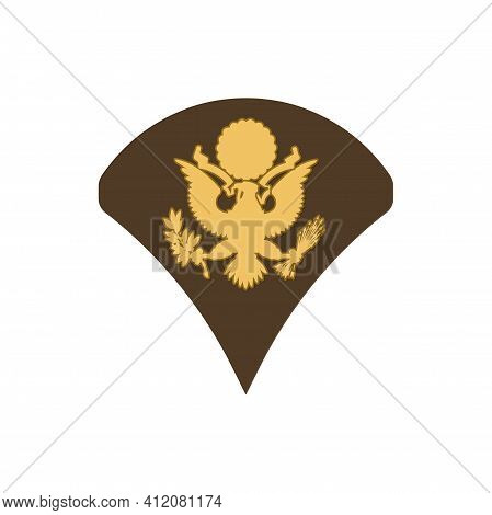 Specialist Spc Soldier Military Rank Insignia With Eagle Shield Isolated. Vector Insignia Of Soldier