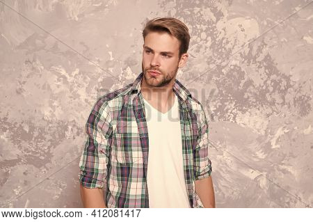 Going Unshaven. Unshaven Guy Abstract Background. Handsome Man With Unshaven Face. Bachelor In Plaid