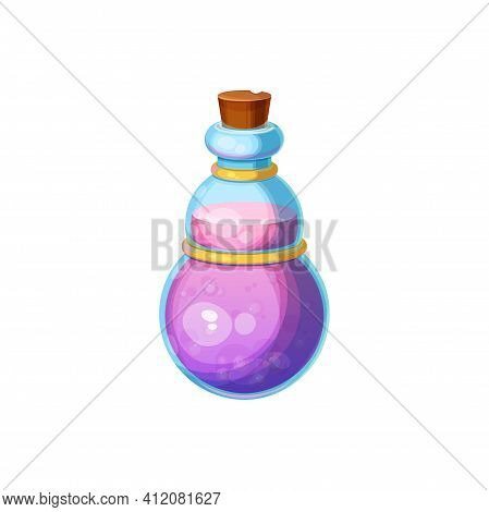 Mysterious Halloween Witch Potion Isolated Bottle With Purple Elixir And Wooden Cork. Vector Liquid