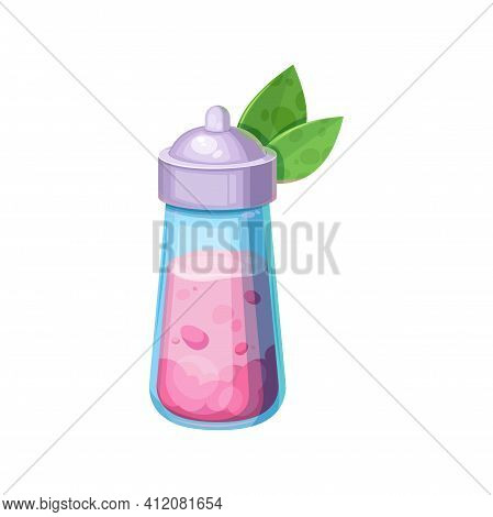 Pink Bottle With Potion And Cap With Pair Of Green Leaves Isolated Halloween Party Icon. Vector Magi