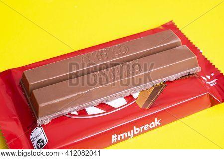 Belarus, Novopolotsk - 11 March, 2021: Bar Kitkat On A Yellow Background