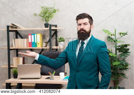 Man Bearded Top Manager Boss In Office. Business Career. Start Own Business. Business Man Formal Sui