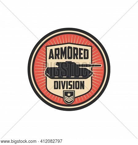 Armored Division Isolated Military Chevron With Tank. Vector Officer Rank Insignia, Armed Forces Def