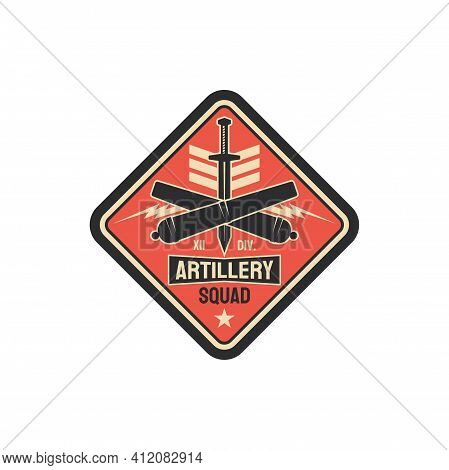 Artillery Division Military Chevron With Sword And Crossed Bomb Rockets, Army Officer Rank Patch On