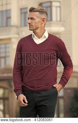 Fits Perfect. Elegant And Stylish Businessman. Handsome Man In Urban Style Clothes. Man Spring Style