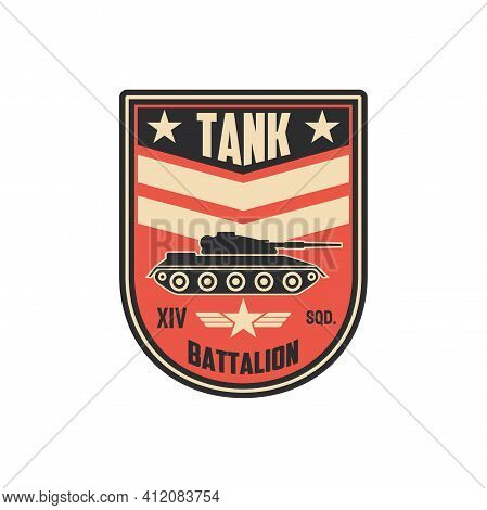 Armored Division Tank Battalion Isolated Military Chevron With Armored Vehicle Truck. Vector Combat