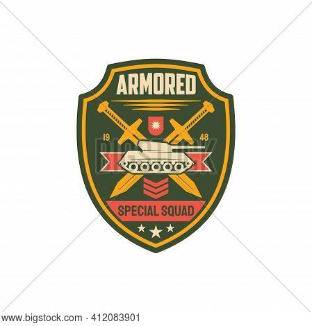 Heavy Armored Division Isolated Military Chevron With Tank, Crossed Swords And Officer Rank. Vector