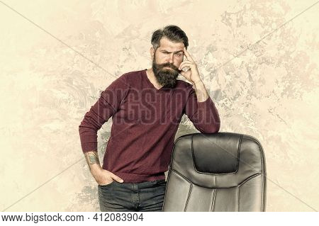 Hr Department. Empty Chair. Bearded Boss Stand In Office. Job Offer. Guy Thinking. Business Decision