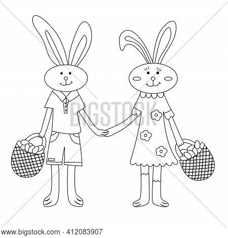 Easter Bunnies Boy And Girl Hold Hands. Rabbits Collect Eggs In Baskets. Coloring Page Children Cele