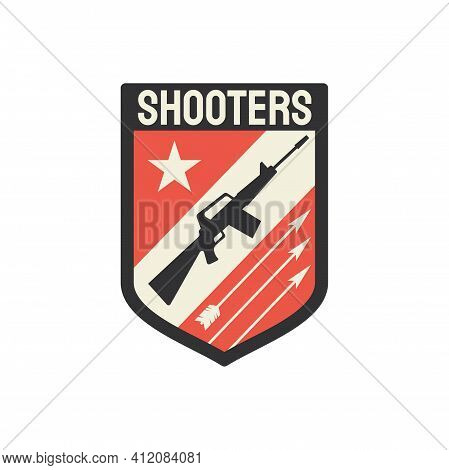 Military Chevron Shooters Snipers Gun Isolated Squad Shield. Vector Special Sniper Shield Badge, Ame