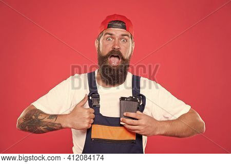 Mechanic Enjoy Coffee. Coffee Helps Enhance Productivity Levels, Increases Focus, And Lowers Stress