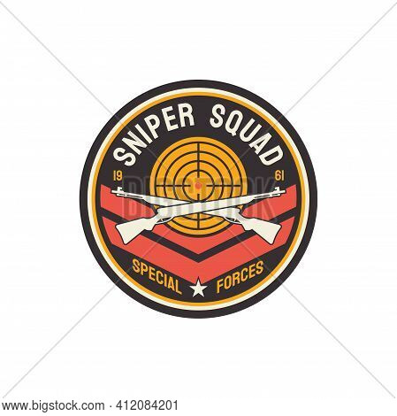 Special Snipers Squad Isolated Usa Armored Troops Emblem On Cloth Or Uniform. Vector Military Americ