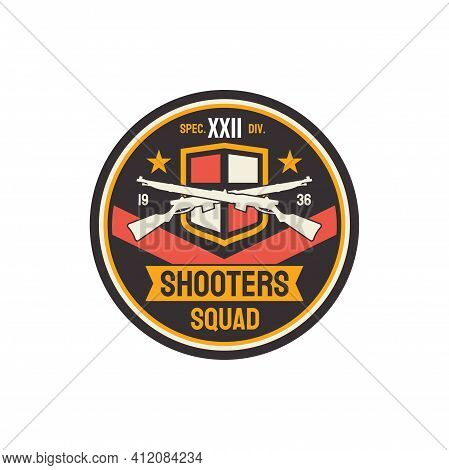 Shooters Special Snipers Squad Military Chevron With Crossed Optical Rifles And Flag Isolated. Vecto