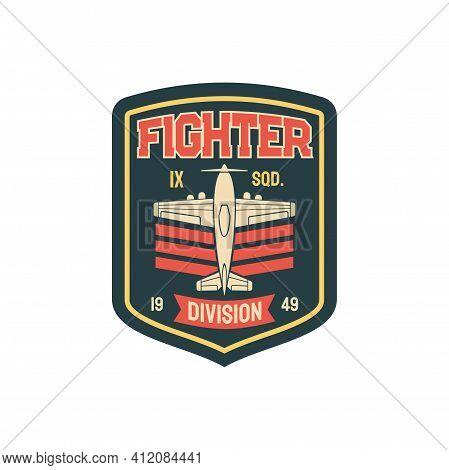 Fighter Plane Army Chevron Insignia Aviation Squad Isolated Sticker, Patch On Uniform. Vector Milita