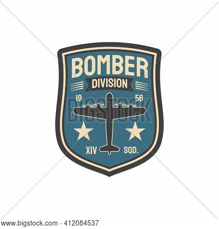 Bomber Division Army Chevron Insignia Of Interceptor Plane Squad Isolated Military Patch With Aviati