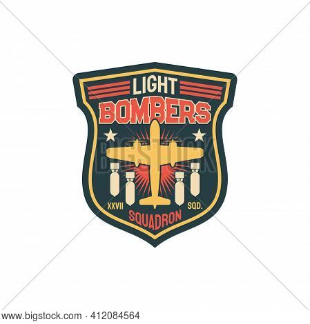 Patch On Officer Uniform Isolated Army Insignia Of Bomber Division, Aircraft And Flying Bombs. Vecto